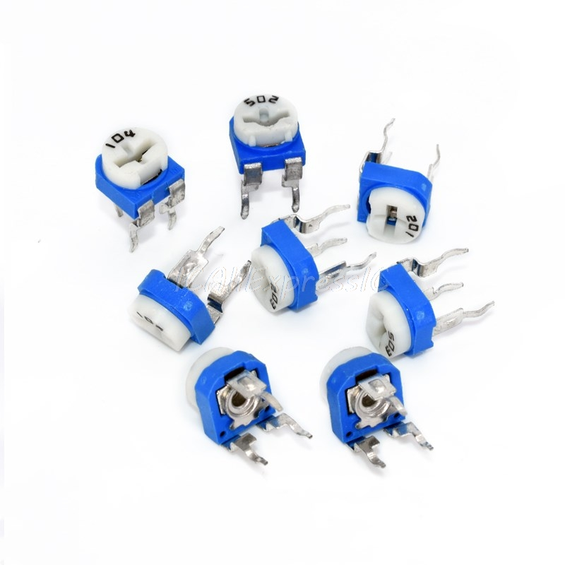 5 pçs/lote RM065 RM-065 100 200 500 20 10 5 2 1K K K K K K 100K 200K 500K 1 50 M ohm Trimpot Trimmer Potenciômetro resistor variável