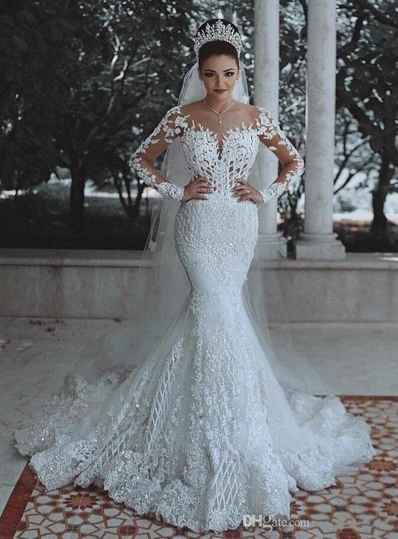 Charmante robe de mariée fille Design sirène couleur blanc col en v à manches longues balayage Train Appliques robe de mariée à lacets retour