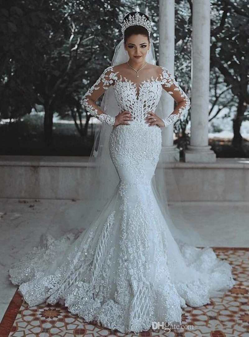 Charming Mermaid Design Girl's Wedding Dress Colour White V-Neck Long Sleeve Sweep Train Appliques Wedding Gown Lace Up Back