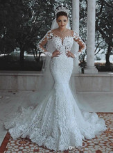 Charming Mermaid Design Girls Wedding Dress Colour White V Neck Long Sleeve Sweep Train Appliques Wedding Gown Lace Up Back
