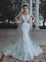 מקסים בת ים עיצוב ילדה של חתונה שמלת צבע לבן V צוואר ארוך שרוול לטאטא רכבת אפליקציות חתונת שמלת תחרה עד בחזרה