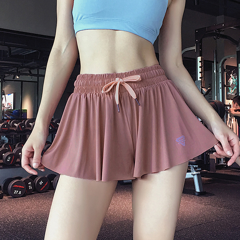 New Wardrobe Malfunction-proof Sports Shorts Women's Loose Fake Two-piece Running Casual Skirt High Waist Fitness Hot Shorts