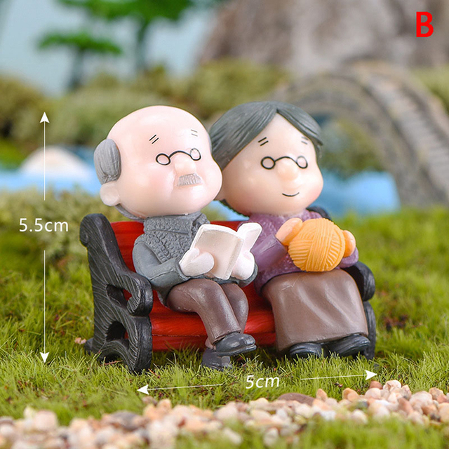 1/2Pieces Sweety Lovers Couple Chair Figurines Miniatures Fairy Garden Gnome Moss Terrariums Resin Crafts Home Decoration 4