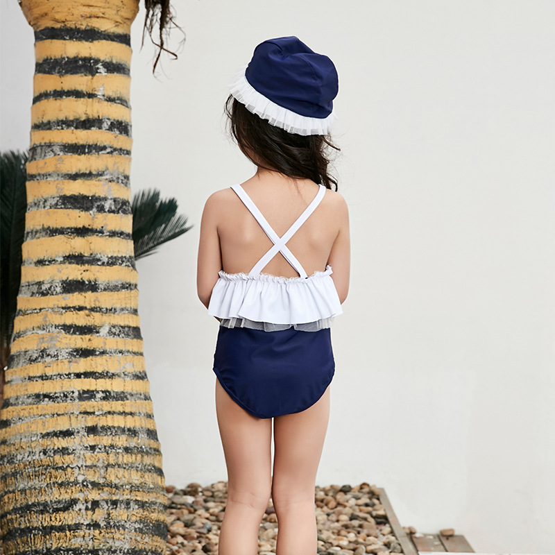 Korean-style New Style KID'S Swimwear GIRL'S Cute One-piece Little Princess Girls Infant Baby Kids Hot Springs Swimwear