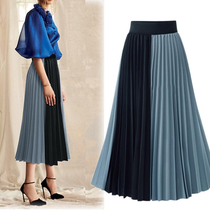 Sherhure 2020 High Waist Spring Women Long Skirts Saia Color Patch Women Elegant Pleated Skirt Faldas Jupe Femme