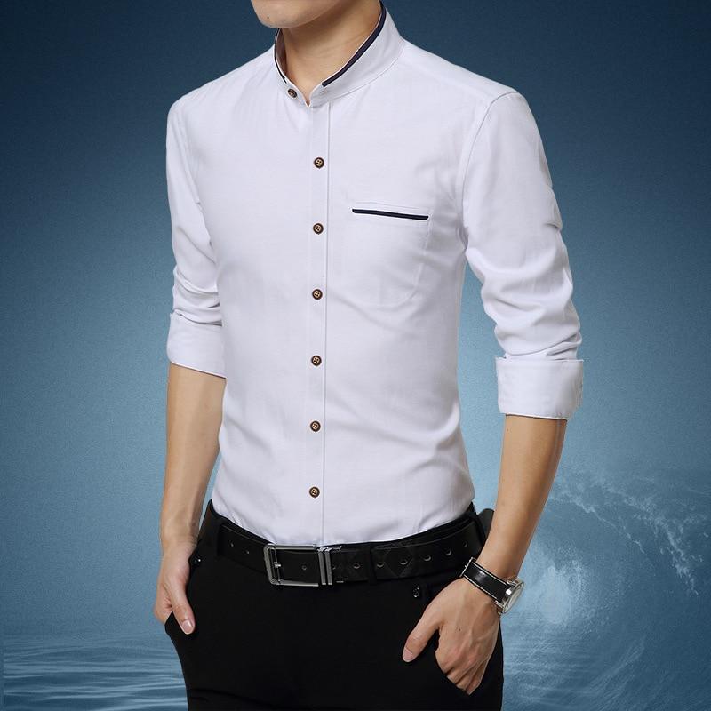 Good Quality Men's Shirts Mens Stand Collar Shirt From Hot Long Sleeve Shirt Casual Dress Shirt Men Clithes