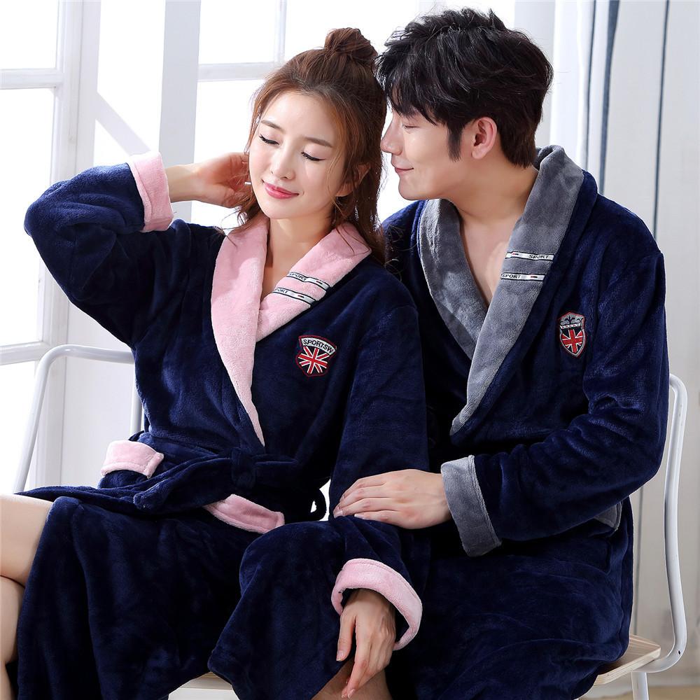 Winter Flannel Lovers Robe Gown Elegant Solid Casual Sleepwear Nightgown Keep Warm Men And Women Bathrobe Gown Homwear Pajamas