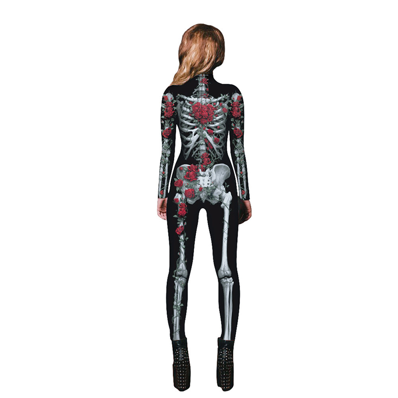 Image 5 - New Women Sexy Bodysuits Halloween Costumes For Women 3D Skull Rose Printing Jumpsuits Punky Back Yoga Day of the Dead    -
