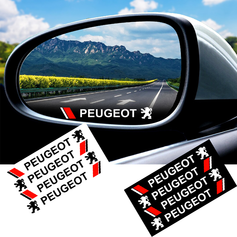 4Pcs Car Rearview Mirror Sticker Door Handle Decal Sticker Car Decoration Car Styling For Peugeot 208 301 307 306 308 3008 Etc
