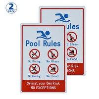 Sinal de 2 pacotes para piscinas residenciais ou comerciais  regra geral da piscina comercial