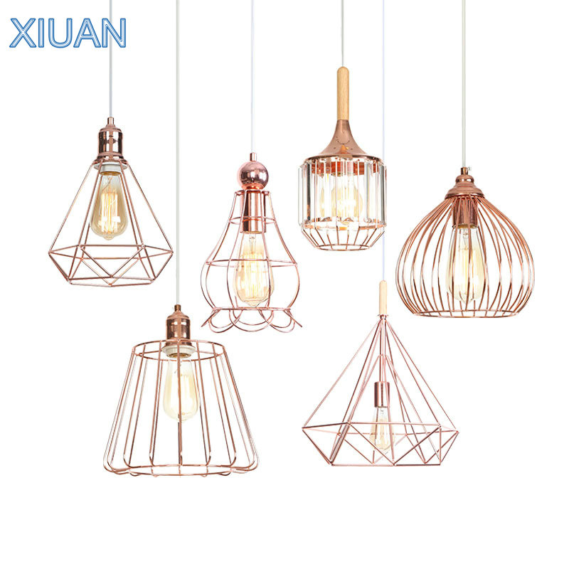 LED Rose Gold Lamp American Simple Wooden Hanging Pendant Light for Kitchen Bedroom Living Room Iron Cage Suspension Luminaire|Pendant Lights| |  - title=