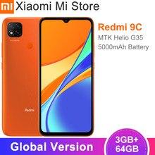 Versão global xiaomi redmi 9c telefone móvel 3gb ram 64gb rom mtk helio g35 13mp triplo câmera 5000mah bateria 10w carregamento