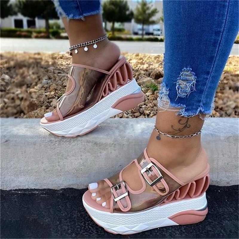 ADISPUTENT Nền Tảng Giày Sandal Nữ Gợi Cảm Trong Suốt Cao Gót Giày Mùa Hè Người Phụ Nữ Đế Xuồng Khóa Nữ Giày Sandalias Mujer
