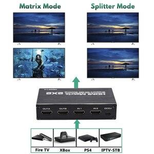 Image 3 - 2020 הטוב ביותר 4K @ 60Hz HDMI מטריקס 2x2 מתג ספליטר תמיכת HDCP 1.4 IR שלט רחוק HDMI מתג 2 ב 2 מטריצת HDMI מתג