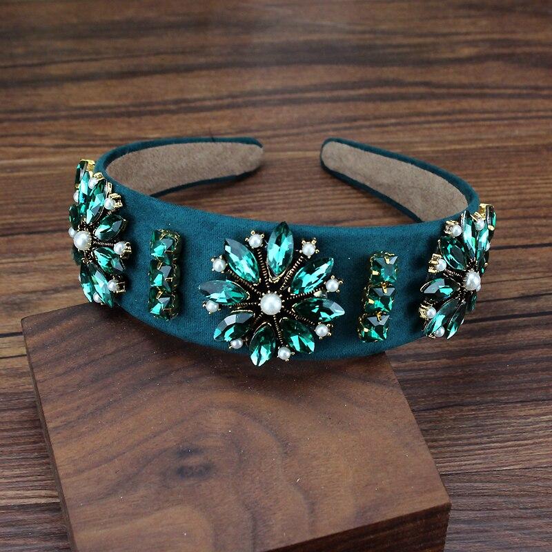 Gran vintage de lujo de cristal verde de la boda, diadema de diamantes de imitación diadema de perla para las mujeres cabello accesorios de joyería
