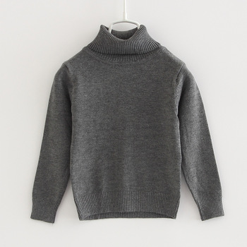 2020 Autumn Baby Sweater Newborn Plain Gray Turtle Neck Little Boys Girls Pullover 1 2 Years Old Toddler Baby Clothes 195002