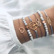 Free Shipping 6pcs/set Natural Stone Charm Chain Bracelets For Women Geometric Map Heart Tortoise Bracelet Set Boho Jewelry stylish heart geometric bracelet for women