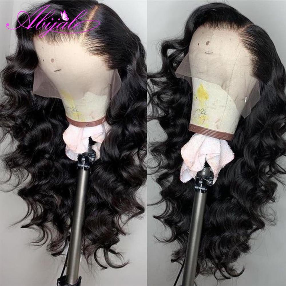 Парики из натуральных волос на кружевной основе Abijale, бразильские свободные парики с глубоким волнистым кружевом 13x4