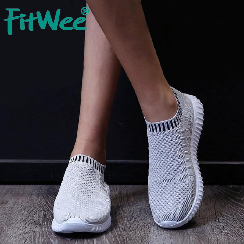 FITWEE Sneakers Women Vulcanized Player Shoes Breathable Fly Knitting Sock Shoes Women Casual Flats Footwear Size 35-43