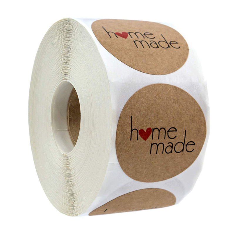 Autocollants maison en papier Kraft, fait maison avec amour, pour enveloppes et colis, étiquettes de scellage faites à la main, papeterie Scrapbooking, 100-500 pièces