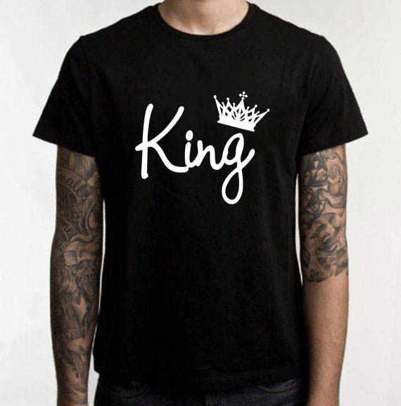 אירופה חמה סגנון הדפסת מלך מלכת כתר הדפסת זוג חולצה שחור קצר שרוול חולצה מפעל ישיר מכירה MV017