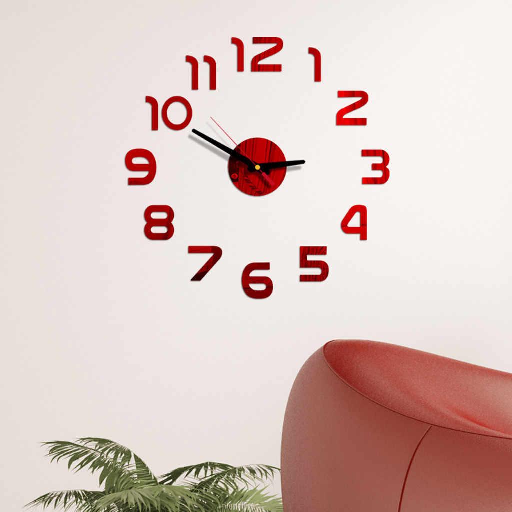 Reloj de pared grande cuarzo 3D DIY grandes relojes decorativos de cocina pegatinas de espejo acrílico Reloj de pared de gran tamaño decoración del hogar # R5