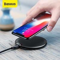 Baseus qi carregador sem fio para iphone 11 xs max 8 plus para samsung s10 s9 plus nota 9 8 carregamento sem fio usb telefone carregador almofada Carregadores sem Fio     -
