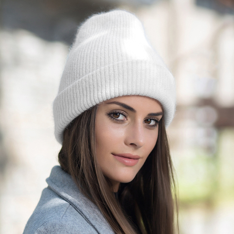 Winter Hats For Women Beanie Hat Rabbit fur Woman Hat Winter Beanies for Ladies Knitted Hat Cashmere Autumn Solid Bonnet 2020