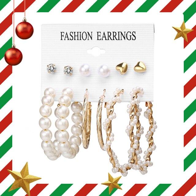 17KM Women Earrings Set Acrylic Pearl Earrings For Women Bohemian Leopard Tassel Stud Earrings 2020 New Brincos Fashion Jewelry 2