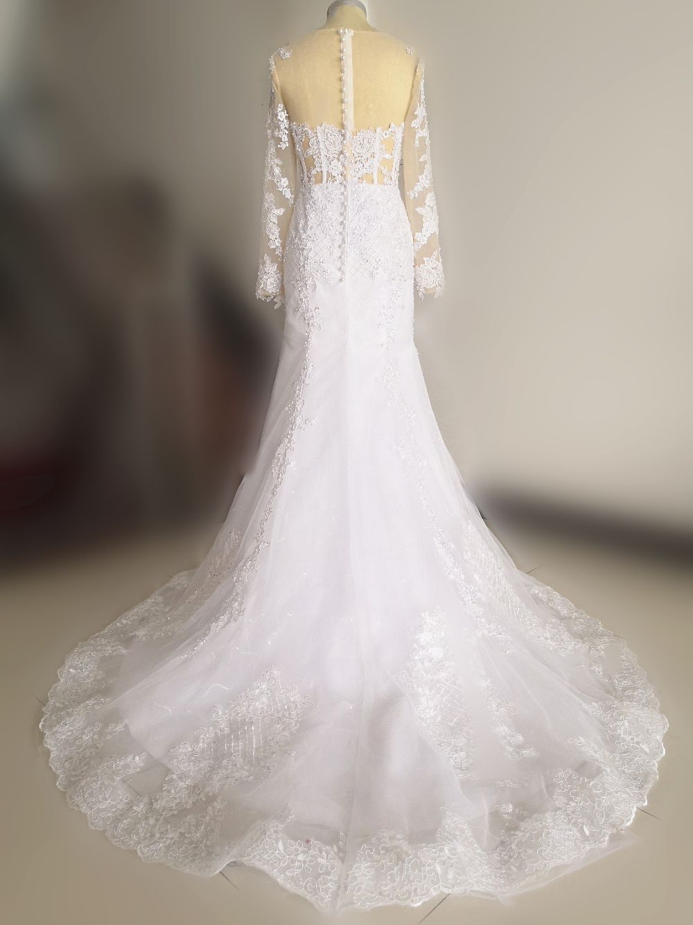 Sparkly Lace Wedding Dress Mermaid Illusion 6