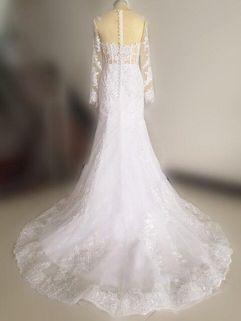 Sparkly laço vestido de casamento sereia ilusão corpete vestido de manga longa sheer neck apliques vestidos de noiva 2020 primavera 6