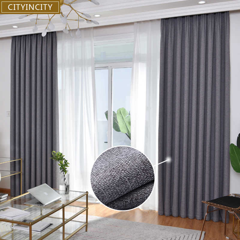 Cityincity Blackout Curtains For Living Room Modern Drapes Faux Linen Korean Style Window Curtain For Bedroom Customized Curtains Aliexpress