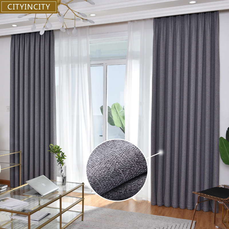 Затемняющая занавеска cityity для гостиной, современные занавески из искусственного льна, корейский стиль, занавеска на окна для спальни по ин...