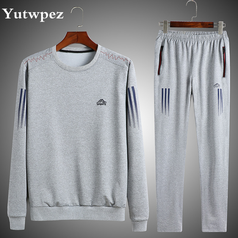 Fashion Men Set Male Tracksuit Two Pieces Outdoors Long Sleeve Striped Hoodie Pant Men's Gyms Set Casual Sportswear Suit 4XL 5XL
