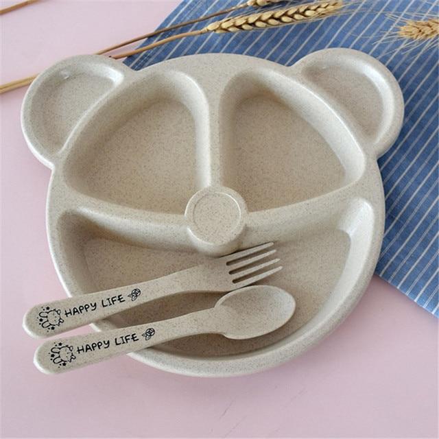 Vaisselle anti-blé paille chaude, bol + cuillère + fourchette dalimentation pour bébé, dessin animé ours plats pour enfants vaisselle à manger, paille chaude