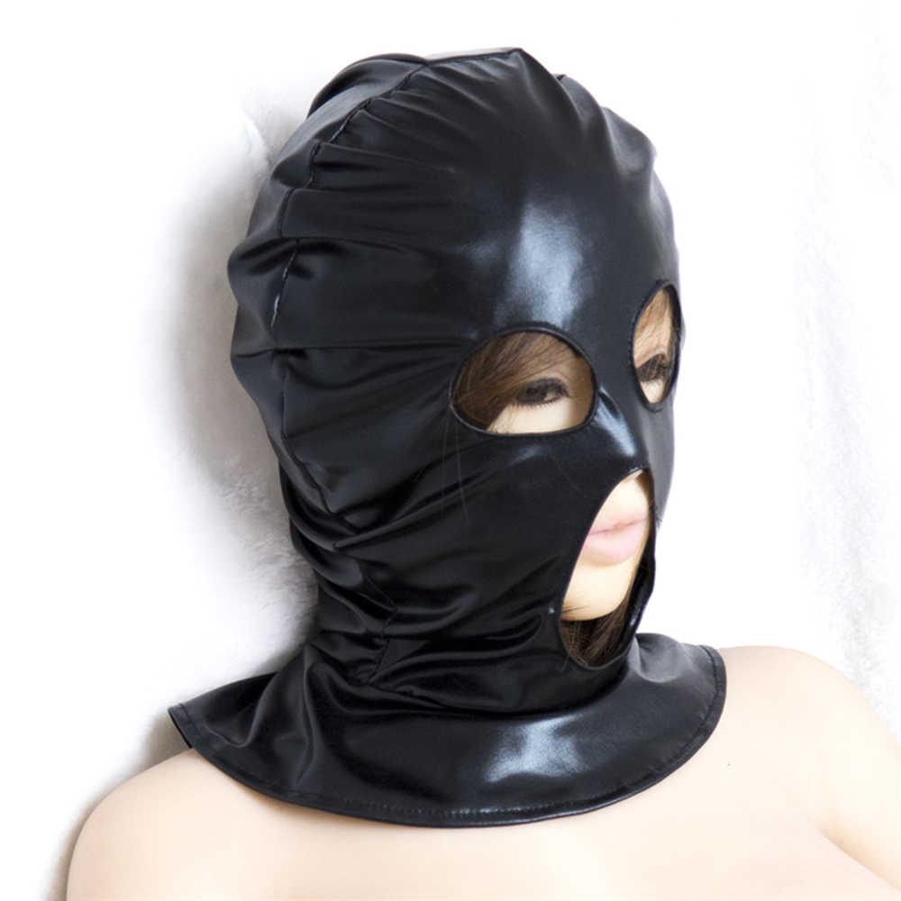 БДСМ-игрушки маска из искусственной кожи Мягкий капюшон повязки на глаза, подголовники жгут маска, БДСМ бондаж Gimp, маска для Хэллоуина секс-игрушки