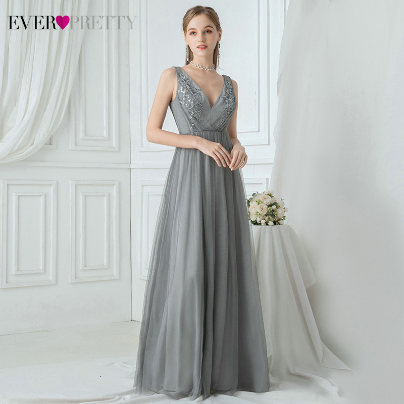 Grey Prom Dresses Ever Pretty Ruched A-Line Double V-Neck Sleeveless Appliques Tulle Elegant Long Party Gowns Vestido De Festa