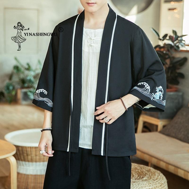 Kimono Cardigan Men Japanese Kimono Traditional Beach Thin Asian Clothes Japan Kimonos Yukata Male Fashion Casual Cardigan Shirt