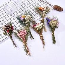 1 букет пшеницы кролик хвост трава букет из сушеных цветов DIY Вечный цветок Гостиная градиентные Свадебные украшения дома