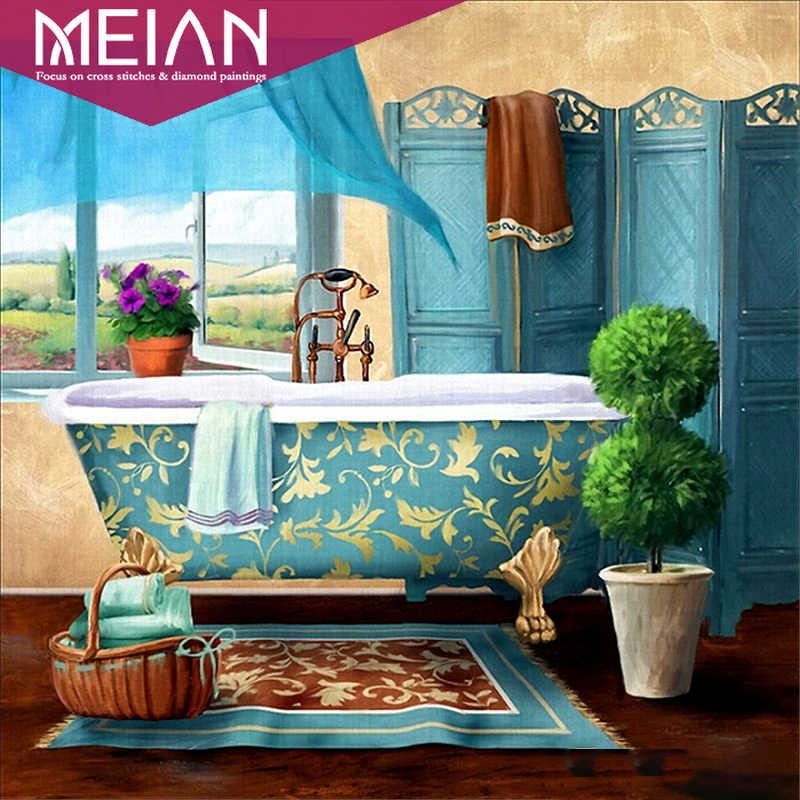 2020 Meian Bathroom Full Round Drill 5d Diy Diamond Painting 3d Embroidery Cross Stitch 5d Home Decor Aliexpress