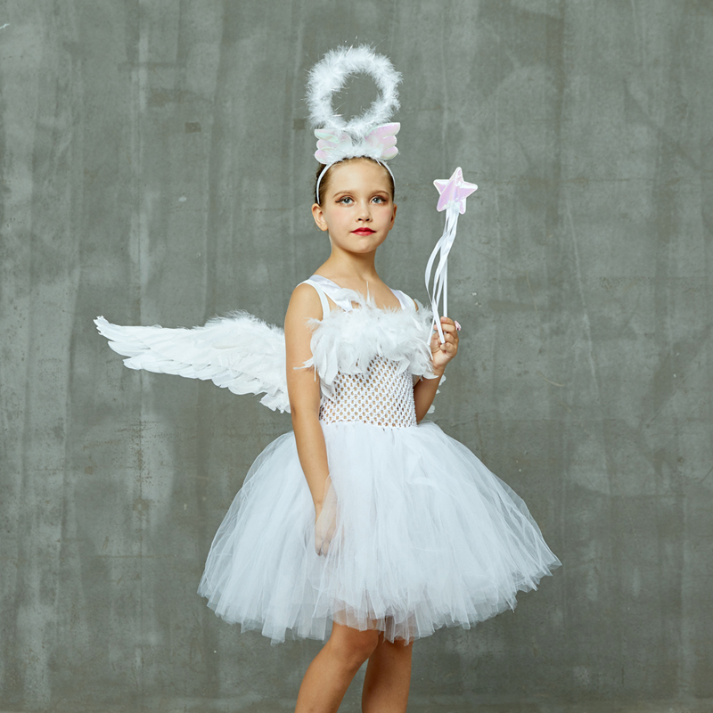 Guardian Angel Kids Halloween Costume White Feather Angel Girls Tutu Dress with Wings & Halo Christmas Nativity Gabriel Clothes (12) - 副本