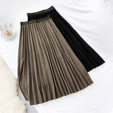 AcFirst Autumn Winter Black Brown Green Women Skirts Fashion High Waist Pleated Mid-Calf Skirt Clothing Long Knitting