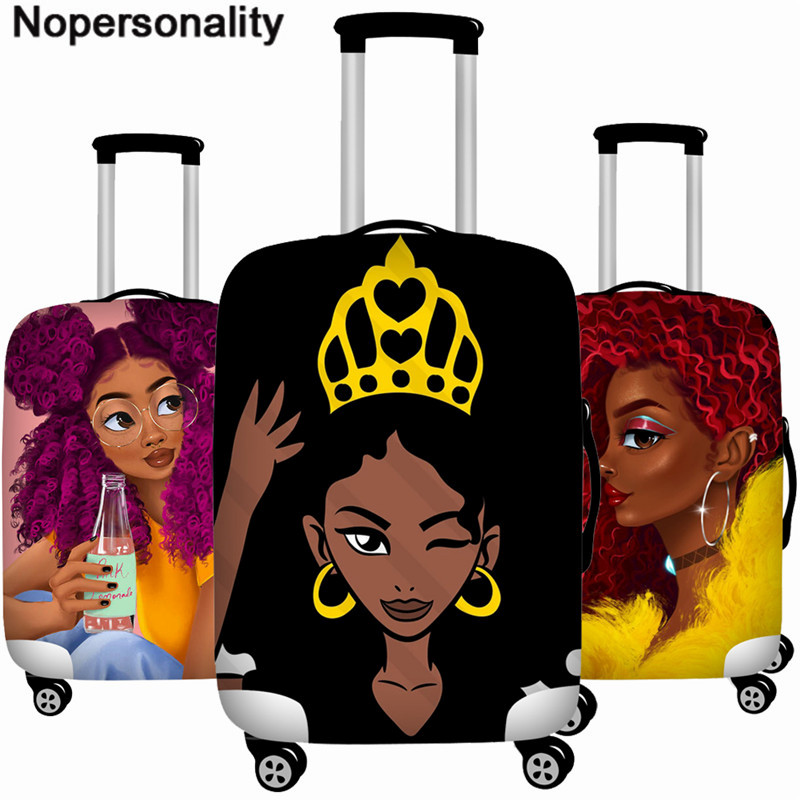 Nopersonality Luggage Cover Cartoon Queen Women Travel Suitcase Protective Cover For African Art Girls