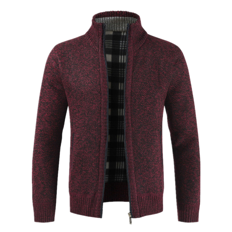 Autumn Winter New Men's Jacket Slim Fit Stand Collar Zipper Jacket  1