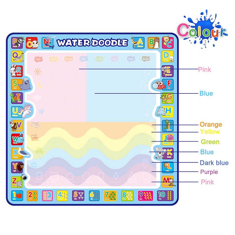 Coolplay 100x100cm magia água desenho esteira doodle esteira & 4 canetas de desenho & 1 carimbos conjunto pintura placa brinquedos educativos para crianças