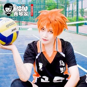 Image 2 - HSIU Аниме Haikyuu! Shoyo Хината косплей парик короткий костюм апельсина играть парики Хэллоуин костюмы волос