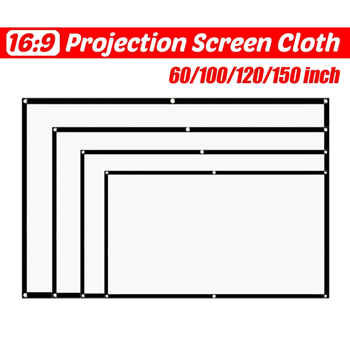 60/100/120/150 дюймов 16:9 складной портативный проектор простой занавес домашний открытый KTV офис портативный 3d HD проектор экран