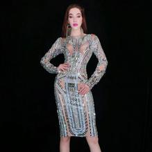 Vestido de diamantes de imitación de cristal brillante de moda vestido de fiesta de noche de manga larga de baile de graduación vestido gris de cumpleaños de celebración de diamantes vestidos