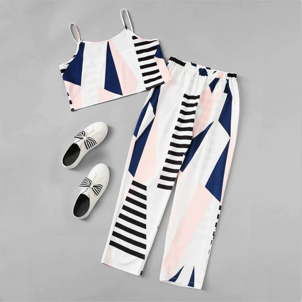 Women's Two-piece Suit Women's Causal Print Sleeveless Shirt Tops Blouse Long Pants 2pcs Set Cami Tops For Women Set SummerNPY3