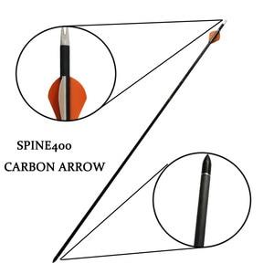 Image 2 - 6/12 Uds 32,5 pulgadas tiro con arco de flecha de carbono con calibre 400 ID 6,2mm reemplazar flecha punto compuesto recurvo caza tiro Accesorios